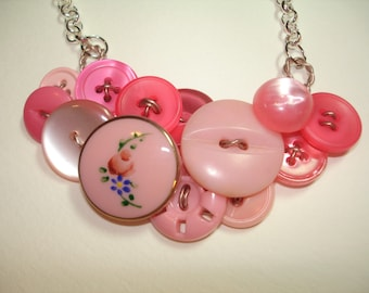 Vintage Button Necklace - SWEET in PINK -Pink Glass Focal Button -Pink Flower Button-Vintage Jewelry - PINK Button Necklace