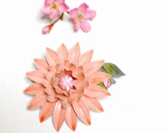 Pink Enamel Flower Brooch, rhinestones, Floral Design, Vintage Figural, Wedding Bouquet, Clearance Sale, Item No. B226
