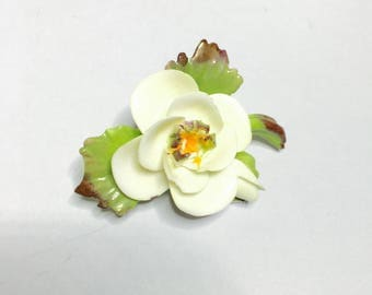 Vintage Cara China Staffordshire, Porcelain Flower Brooch, Antique GOLD Tone, Clearance Sale, Item No. B400