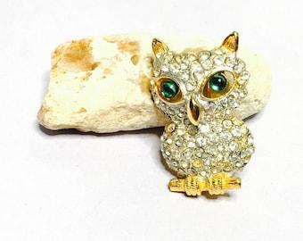 Vintage embellished oWL Brooch, rhinestones, Gold Tone, Animal Figural, Clearance SALE, Item No. B732
