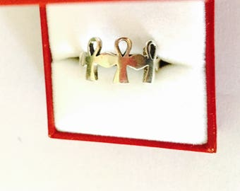 Three ANKH Crosses Ring Size 8., VINTAGE Egyptian Sterling Silver Ring,  Collectable Item, item no. S511