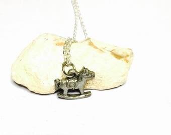 Vintage Rocking Horse Pendant, Antique Silver Tone, Matching Necklace, Clearance Sale, Item No. B257
