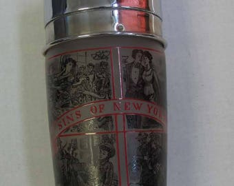 "Vintage ""Sins of New York"" Graphic Overlay Cocktail Shaker Jenn Ar Patent Pending"