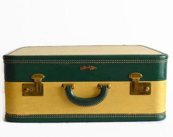 vintage tweed suitcase with key 1940s 1950s travel luggage yellow green