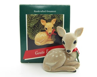 Hallmark Gentle Fawn Vintage 1989 Christmas Ornament Flocked Woodland Deer Tree Decoration with Box