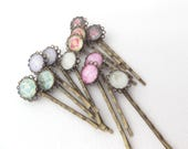 Set of two Bobby Pins, Antique Bronze Hair grips, Brass Hair grips, Kirby Grips, Hair Accessories, Colour choice Big hair pins
