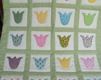 Appliqued Tulip/Green Backing