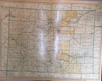 Vintage 1953 Rand McNally Commercial Atlas - Colorado Map
