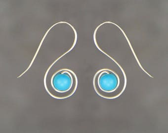 Sterling silver turquoise earrings Bridesmaid gifts Free US Shipping handmade Anni designs