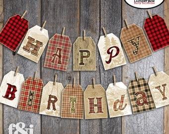 Lumberjack Banner | Lumberjack Bunting Banner | Camping Banner | Lumberjack Birthday Decorations | Buffalo Plaid Banner | Printable