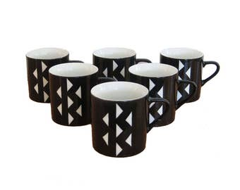 Black and White Geo Mugs, Triangle Design, Svc. 6, Bohemian Tribal Vibe
