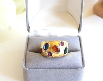 Vintage Band Style Ring With Multi-Color Rhinestones Size 5 18K HGE