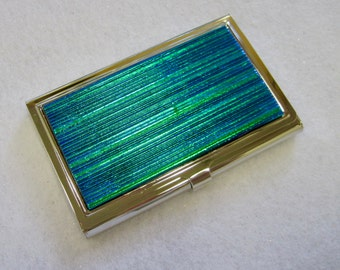Blue/Green Fused Glass Business Card Holder, Metal Card Case, Credit Card Case