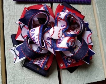 Stacked Texas Rangers hairbows