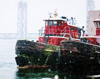Tugboats, Portsmouth New Hampshire Tugboats, Nautical Art, Large Wall Art, Nautical Decor, Boat Photography, New England Art, Fine Art Print