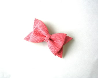 Light Pink Faux Leather Bow Hair Clip