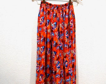 Vintage Diane Freis skirt flowing seahorse with corals motif gypsy boho 1980's designer bright colors flutter skirt: small