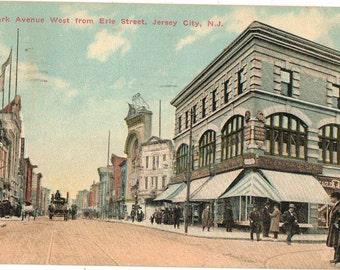 Vintage Postcard, Jersey City, New Jersey, Newark Avenue from Erie Street, 1910
