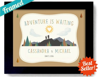 Adventure Awaits Wedding Gift Outdoorsy Couple Nature Lovers Couples Gift Framed Art Print Newlywed Adventure Canoe Camping Hiking Art