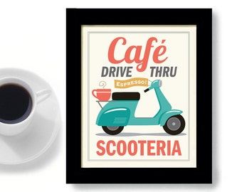 Coffee Art French Cafe Coffee Shop Motor Scooter Kitchen Art Paris France Espresso Coffee Cup French Decor French Style Coffee Sign