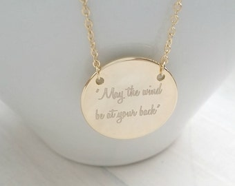 Personalized Quote Necklace, Inspirational Disc Necklace, Graduation Gift, Birthday Gift
