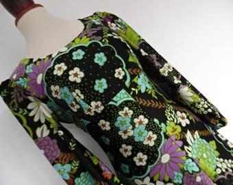 WONDERLAND VALLEYS . Adorable Print Cute Flowers Maxi Dress 60s  S/M