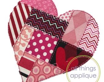 Heart Applique Design - Patchwork Applique - BEAN Stitch (#950) - 4 Sizes Included - INSTANT DOWNLOAD