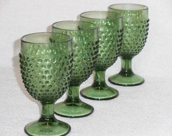 Smith Glass Green Hobnail Goblets