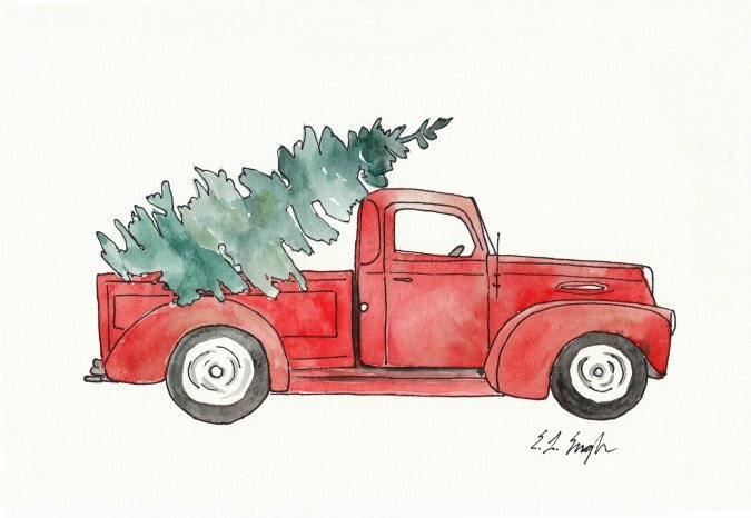 Red Truck with Christmas Tree Original Watercolor Painting