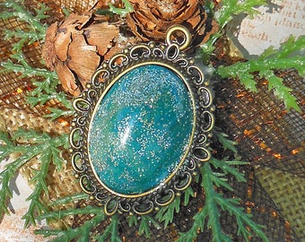 Blue Pendant, Cabochon Pendant, Blue Jewelry, Jewelry Supplies, Jewelry Findings, Jewelry Components, Necklace Findings, DIY Jewelry, Clay