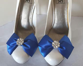 Wedding Shoe Clips, Bridal Shoe Clips, Satin Bow Shoe Clips, Womens Shoe Clips, Jewel Choice, Color Choice, SHoe Clips for Wedding Shoes