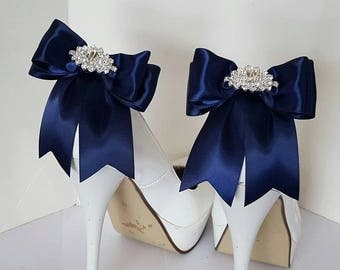 Navy Blue Wedding Shoe Clips,Bridal Shoe Clips,  MANY COLORS, Satin Bow Shoe Clips, Rhinestone Clips, Clips for Wedding Shoes, Bridal Shoes