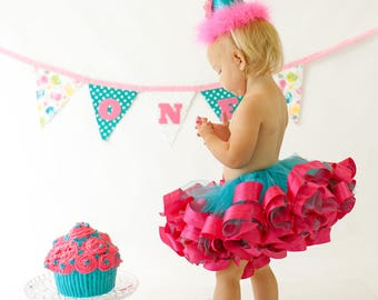 First Birthday Outfit, Cake Smash Outfit, Birthday Tutu, Baby Tutu, Baby Girl Tutu, Birthday Hat, Birthday Banner, Girls Birthday