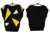 On Hold DO NOT BUY Oh Oo La La Sasson 80s Sleeveless Slouch Slouchy Sweater Geometric Abstract New Wave Hip Hop Black White Yellow Bumble Be