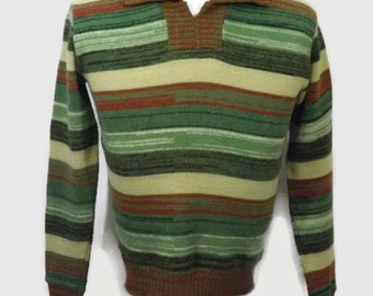 Men's 70s Space Dye Pull Over Vneck V Neck Collar Sweater Green and Brown Earth Tones Sears Men's Store