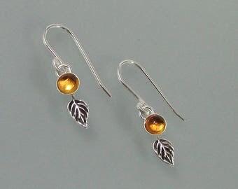 Small citrine petal earrings - tiny sterling silver leaf earrings - November birthstone - boho nature inspired earrings - botanical earrings