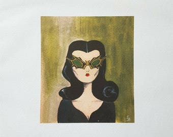 "8""x 8"" Vampira, Bat Glasses, Art Print...."
