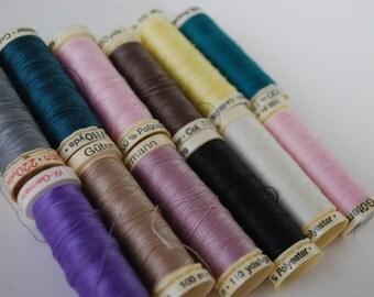 12 Spools of Gutermann Thread  100% Polyester
