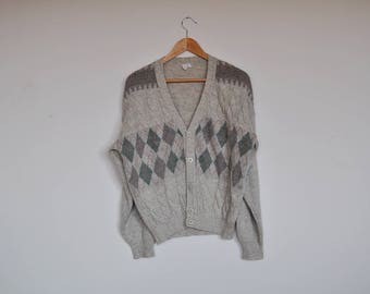 Vintage Mens Preppy Cable Knit Cardigan Harlequin Print Button Down Sweater