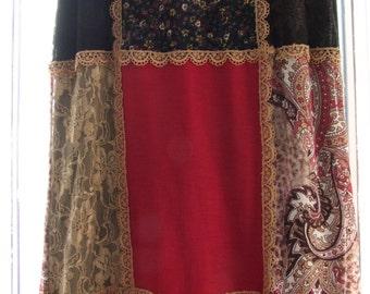 Vintage Patchwork Maxi skirt Michele Bohbot ala 1990s