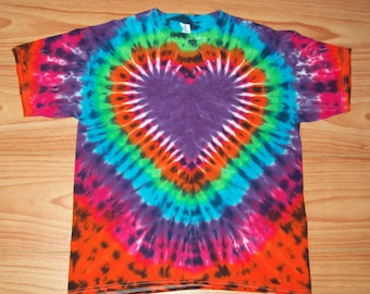 S M L Xl 2x 3x 4x 5x 6x Purple Heart Tie Dye- Kids Adult Plus Size tie dye Heart Shirt