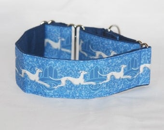 """2"""" Martingale Dog Collar with Greyhounds and Hamsa Hands on Blue"""