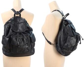 Real Leather Backpack 90s BLACK Large Rucksack Vintage Soft Textured Daypack Bookbag Hipster Festival Knapsack School Bag Gift Idea Large