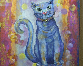 Mix Media original OOAK acrylic painting on canvas. Blue cat