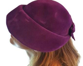Purple Velvet Downton Abbey Hats Evelynvaron Vintage Women's Hats Ladies Wide Brim Cloche Style Hat 1920s 1930s