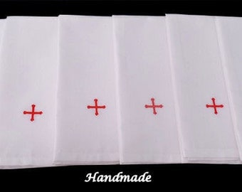 Set of six Oxford cotton purificators red cross & vestment embroidery