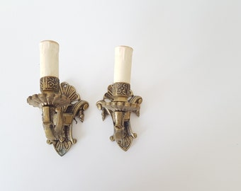Antique pair of French Style - Rococo - Wall Sconces - Candle Holders