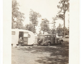 Vacation America Ford woody streamline trailer camping social realism retro found art photo vernacular photography fine art