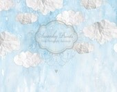 NEW ITEM 5ft x 5ft Vinyl Photography Backdrop / Paper Clouds / Blue Sky