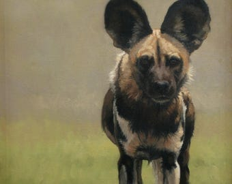 Beautiful limited edition art print african wild dog hunting dog print ready to frame from an original oil by Heather Irvine